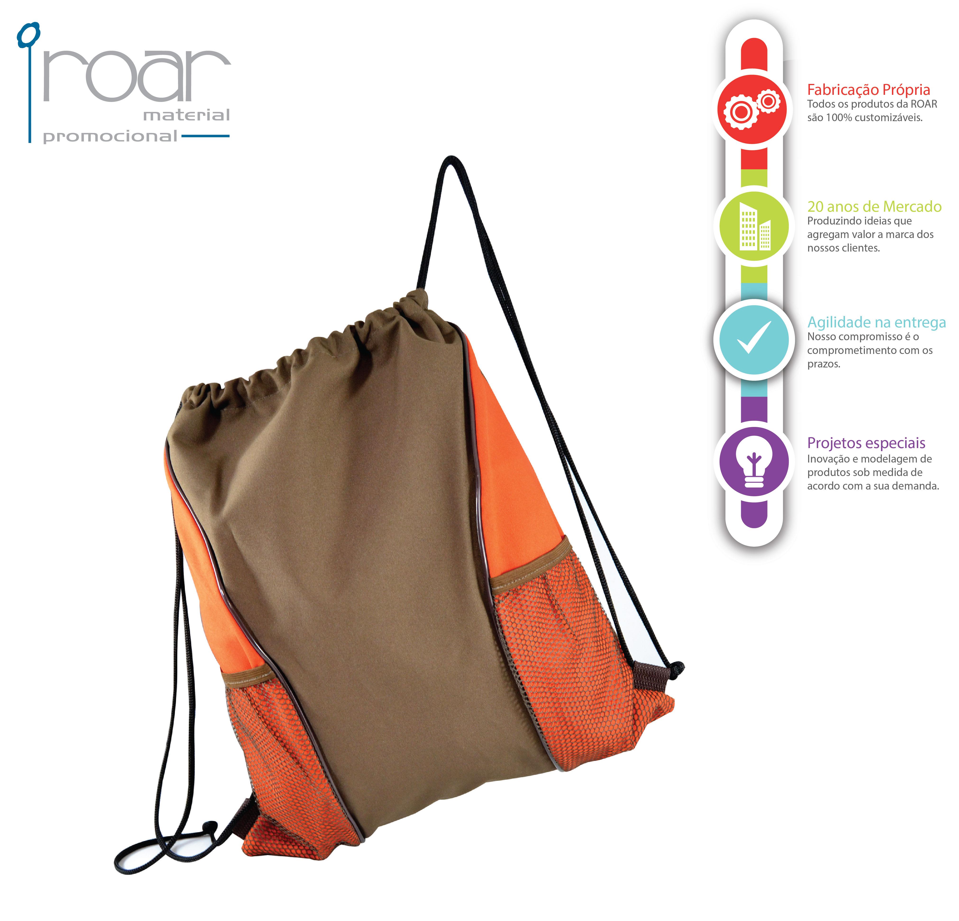 5eb96e4d3 Saco Mochila com bolso em Tela. Mais imagens deste produto: